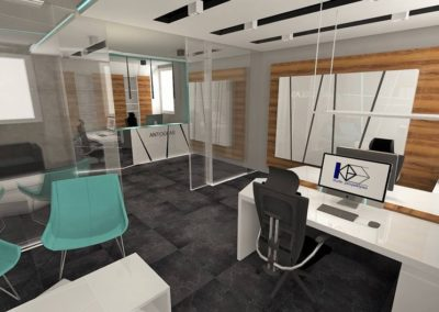 biuro z dodatkiem palisandru